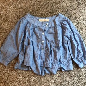 NEW Free People button front Flowy Top XS blue